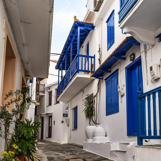 Greece, Skopelos, Chora, Village, Street, Alley, Houses