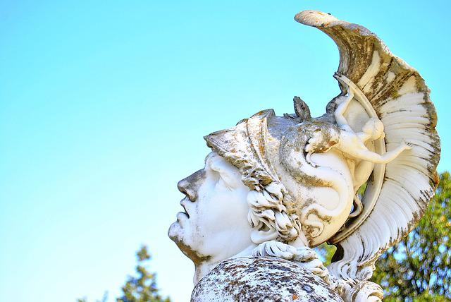 Achil, Sculpture, Greece, Sky, Achillion, Ancient