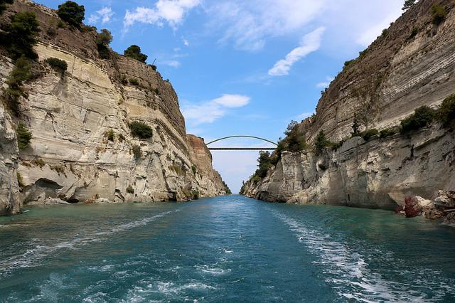 Corinth, Channel, Corinth Canal, Greece, Waterway