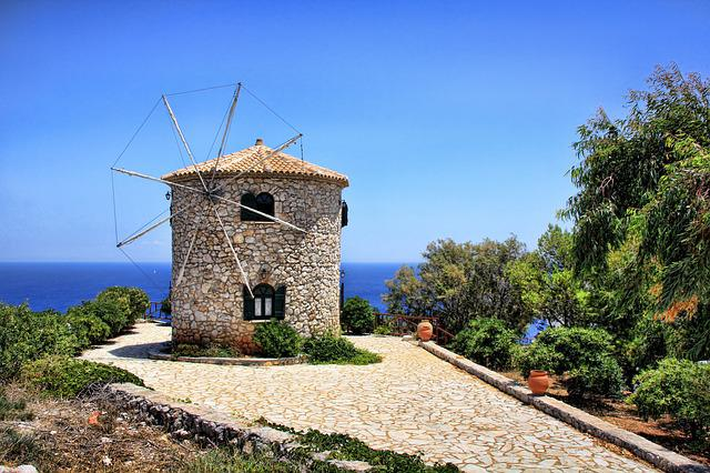 Zakynthos, Greece, Windmill, Sea, Island, Holiday