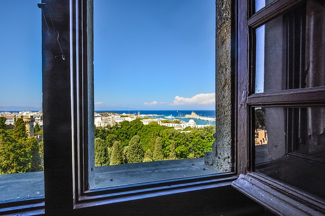 Mediterranean, Window, Sea, Rhodes, Greece, Greek, View