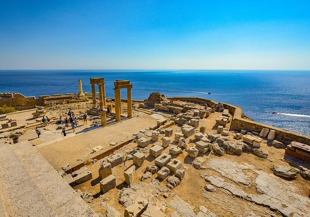 Lindos, Greek, Temple, Rhodes, Greece, Sea