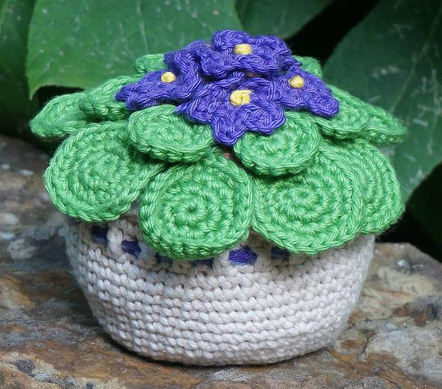 African Violet, Handmade, Crochet, Yarn, Green, Purple