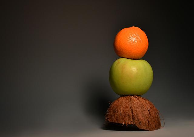 Orange, Apple, Green Apple, Green, Fruit, Coconut