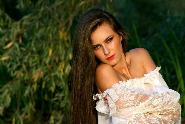 Girl, Long Hair, White, Beauty, Portrait, Green