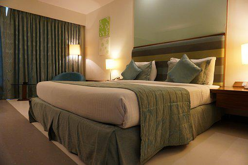 Hotel, Room, Curtain, Green, Furniture, Bed, Hotel Room