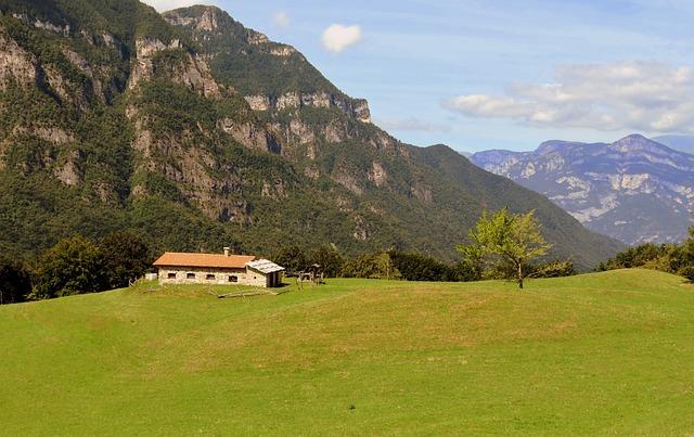 Alm, Prato, Mountain, Italy, House, Green, Tree, Grass