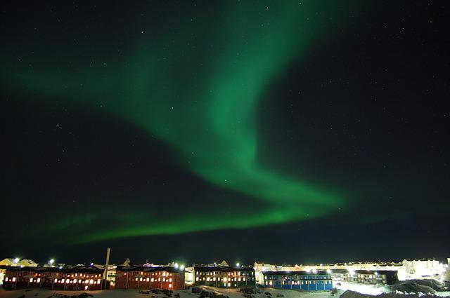 The Northern Lights, Night, Nuuk, Green, Houses