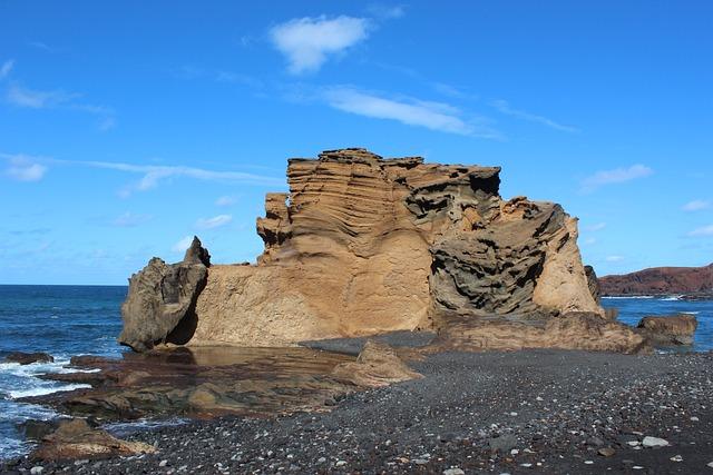 Rock, El Golfo, Green Lagoon, Lanzarote, Coast, Surf