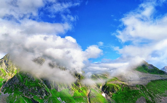 Mountain, Nature, Sky, Landscape, Grass, Green