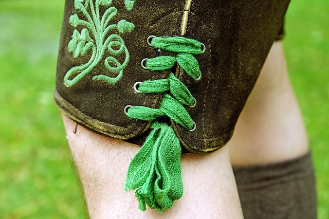 Leather Pants, Costume, Lacing, Green, Customs