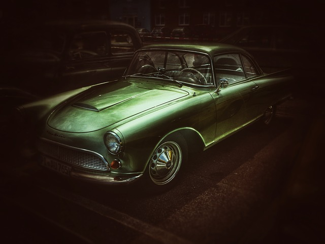 Auto, Oldtimer, Darkness, Night, Green