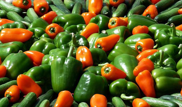 Paprika, Vegetables, Food, Market, Green, Green Peppers