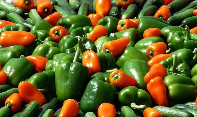 Paprika, Vegetables, Food, Market, Green, Green Peppers