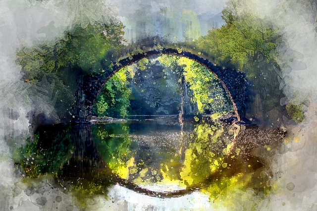 Watercolor, River, Nature, Green, Landscape, Water