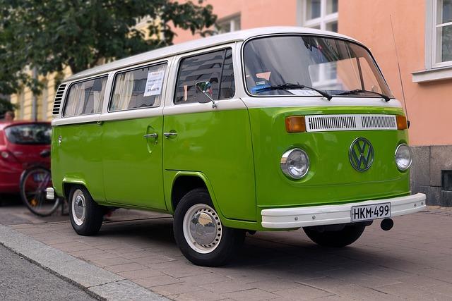Volkswagen, Old, Van, Car, Green