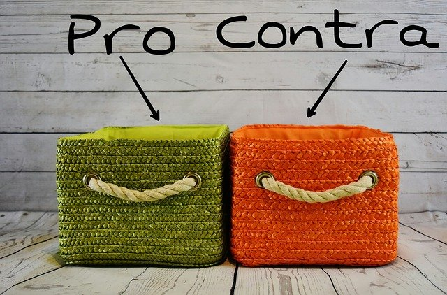 Pros And Cons, Weigh, Compare, Baskets, Two, Green