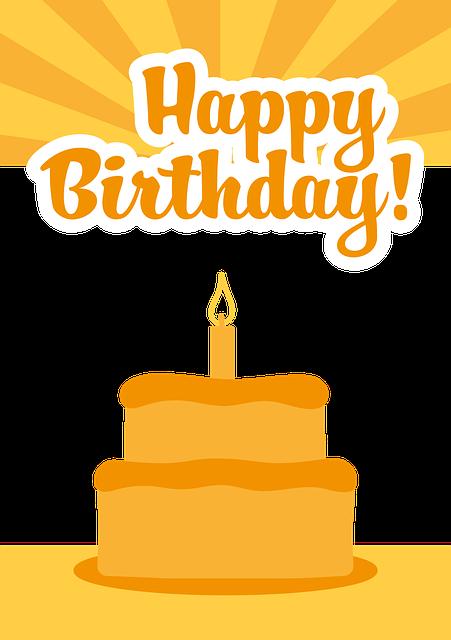Birthday, All Good, Orange, Greeting Card, Cake