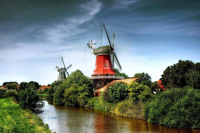 Mills, Greetsiel, Sky, East Frisia, Northern Germany