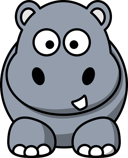 Hippo, Hippopotamus, Cartoon, Grey, Wildlife, Mammal