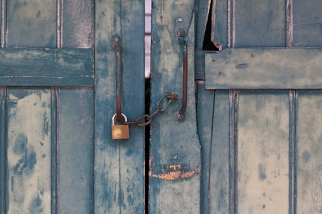 Bolt, Closure, Chain, Door, Wood, Grey, Turquoise Blue