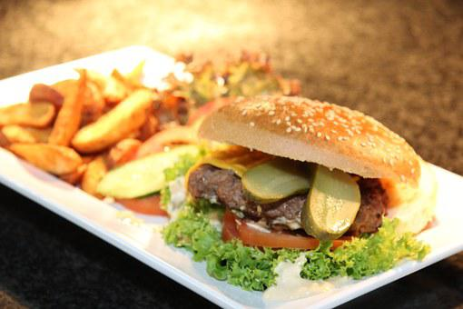 Burger, Grill, French, Plate, Food, Potatoes, Lunch