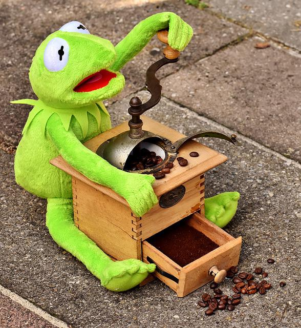 Grinder, Coffee Beans, Kermit, Stuffed Animal