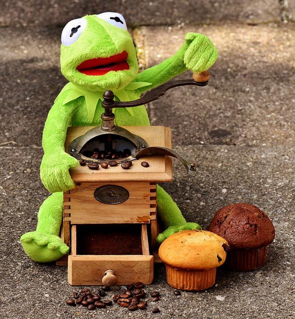 Grinder, Coffee Beans, Muffins, Cake, Kermit