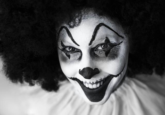 Clown, Creepy, Grinning, Facepaint