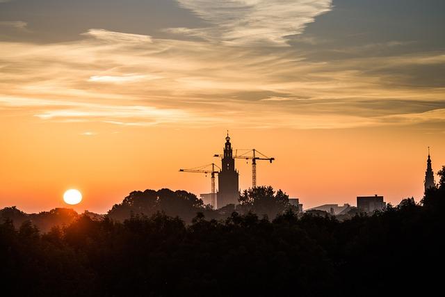 Groningen, Sun, Church, Orange, The Netherlands