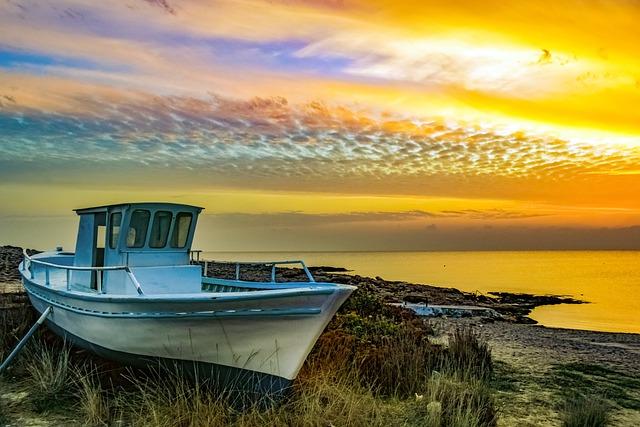 Boat, Grounded, Sea, Seashore, Beach, Sky, Clouds