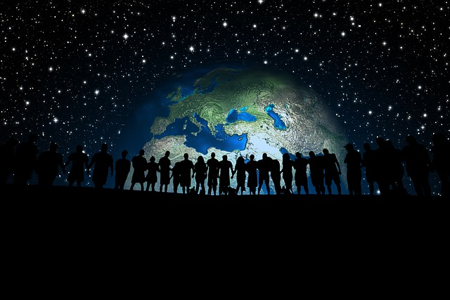 Human, Human Chain, Earth, Globe, Europe, Asia, Group