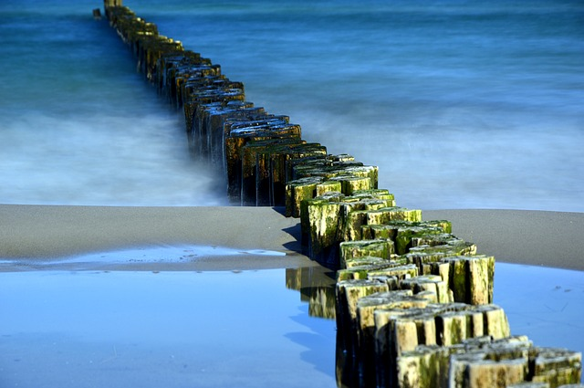Groynes, Breakwater, Sea, Water, Wave, Beach