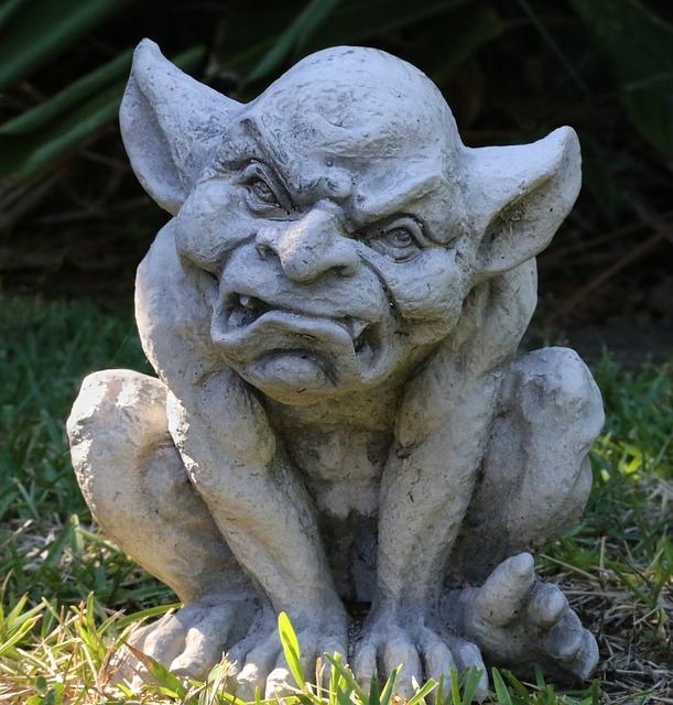 Gargoyle, Grumpy, Statue, Lawn Ornament, Creepy