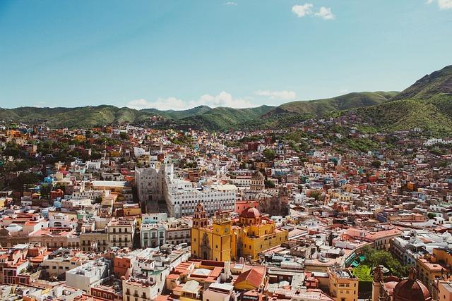 Guanajuato, City, Buildings, Mountains, Panorama