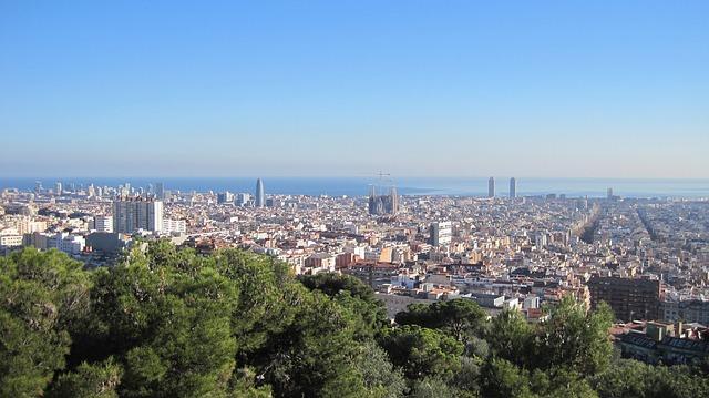 Barcelona, Güell Park, Mediterranean Sea