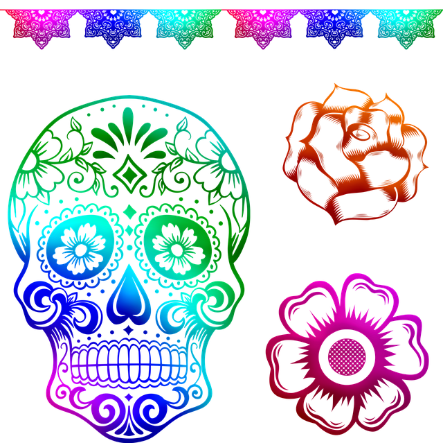 Sugar Skull, Day Of The Dead, Mexican Holiday, Guitar