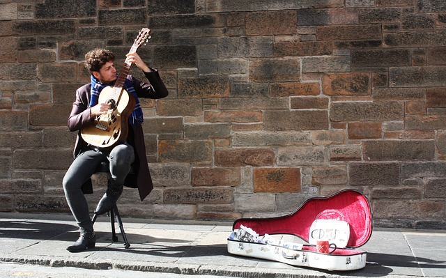 Music, Street Musician, Guitar, Edinburgh