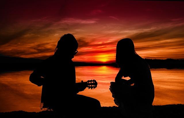 Sunset, Pair, Man, Woman, Guitar, Guitar Player
