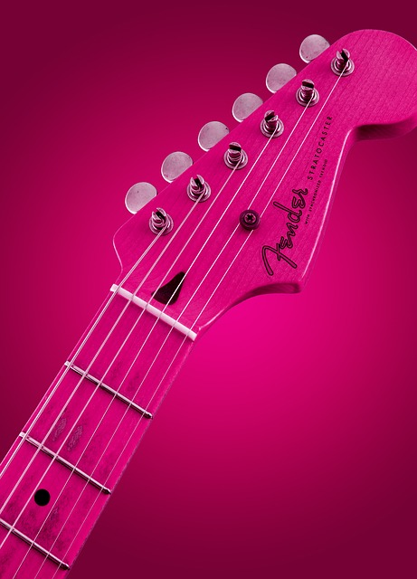 Pink, Guitar, Glowing, Style, Rock, Instrument