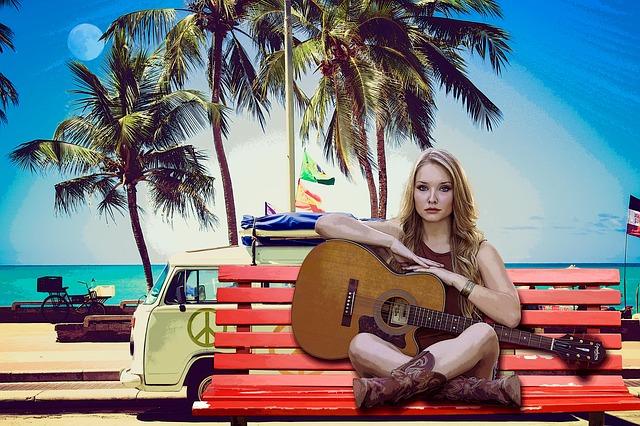 Woman, Beach, Sea, Guitar, Music, Irene, Blonde, Colors
