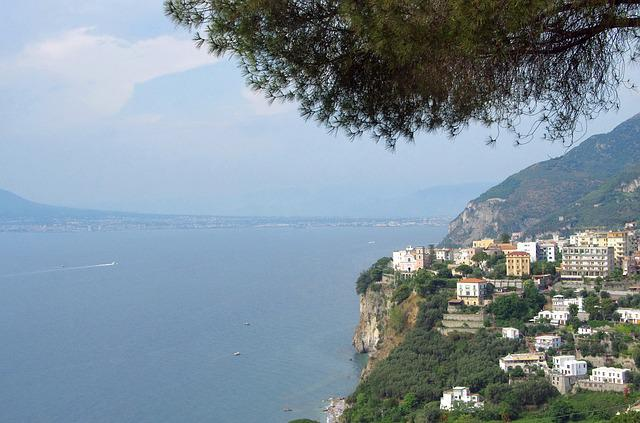 Italy, Sorrento, Gulf, Naples, Village, Cliff, Side