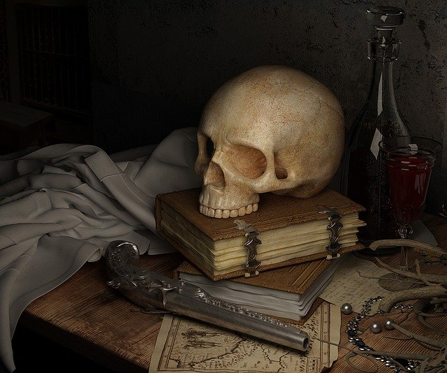 Skull, Dark, Map, Book, Gun, Still Life