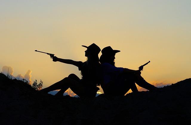 Silhouette, Evening, Sunset, Girls, Gun