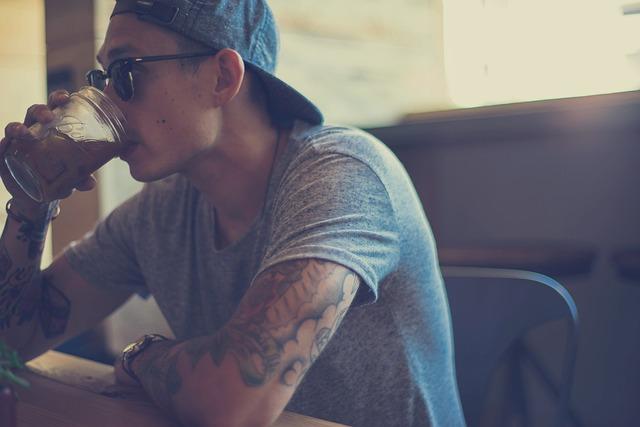 Guy, Man, Tattoos, Tshirt, Drink, Mason Jar, Sunglasses