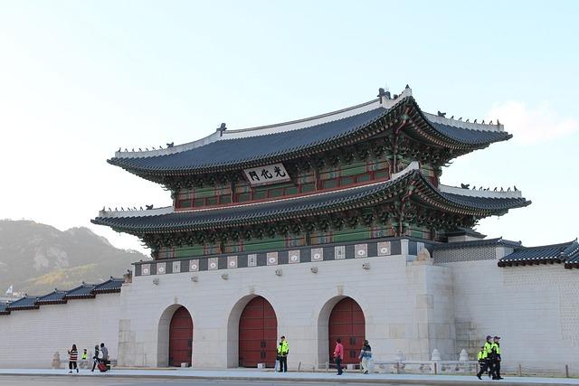 Korea, Seoul, Gwanghwamun, Gyeongbok Palace