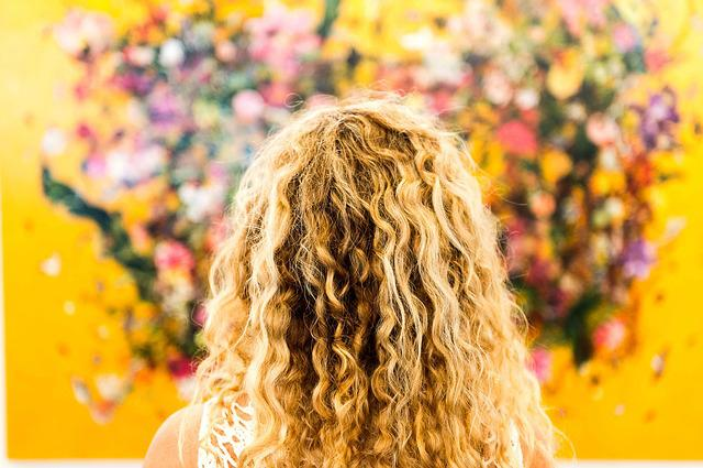 Blonde, Hair, Art, Flowers, Head, Female, Curly Hair