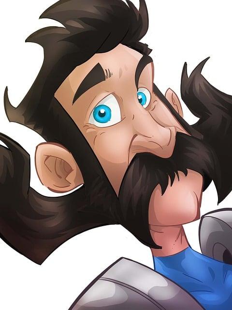 Character, Mustache, Man, Cartoon, Hair, Eyes, Blue