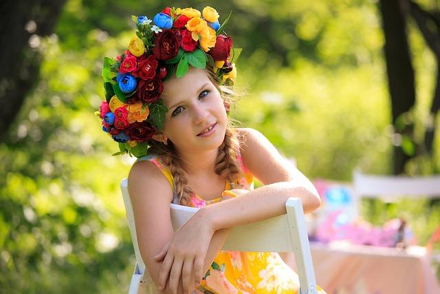 Girl, Flower Crown, Dress, Hairstyle, Fashion