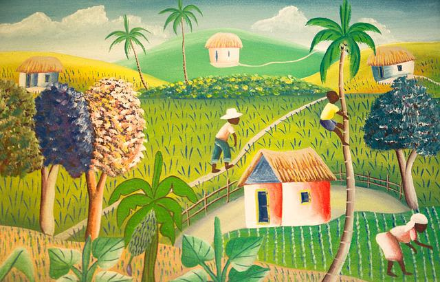 Haiti, Painting, Agriculture, Fields